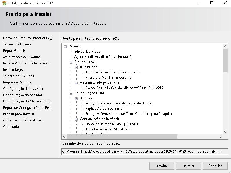 Instalar SQL Server 2017 — Material de Banco de Dados